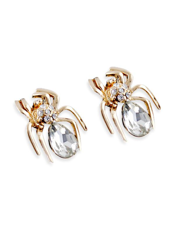 Spider Stud Earrings with Faux Crystal, Gold