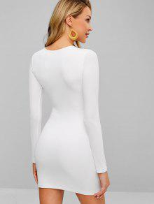 9abd7967af70 34% OFF] 2019 Double Lined Ribbed Bodycon Mini Dress In WHITE | ZAFUL