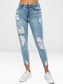 جينز بنمط ممزق - ازرق L