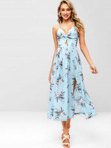 الأزهار شق تويست فستان ماكسي - أزرق فاتح M