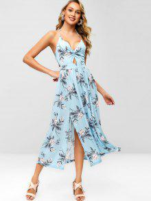 018b202a2e 29% OFF] [HOT] 2019 Floral Slit Twist Maxi Dress In LIGHT BLUE   ZAFUL
