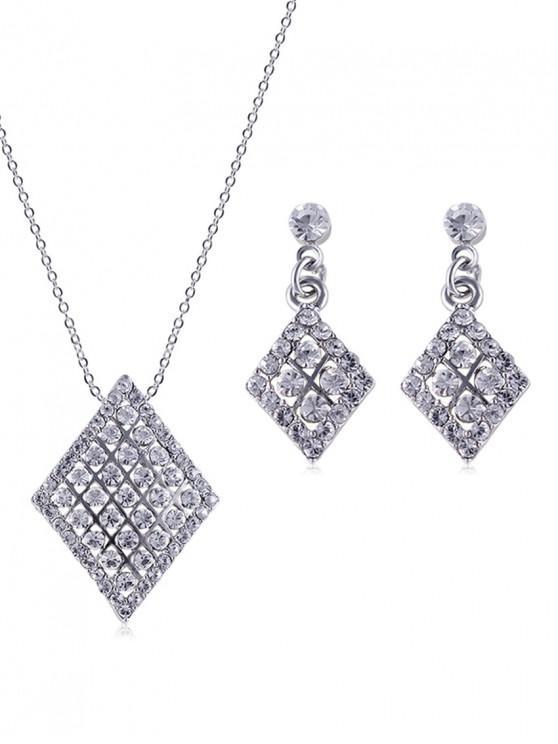 Rhinestone Hollow Geometric Shape Necklace with Earrings