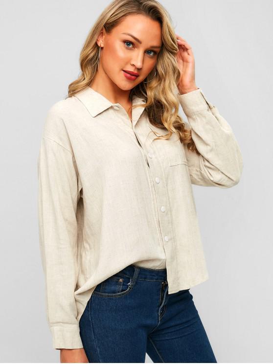 aa83f478ea6 34% OFF  2019 Pocket High Low Drop Shoulder Shirt In MILK WHITE ...