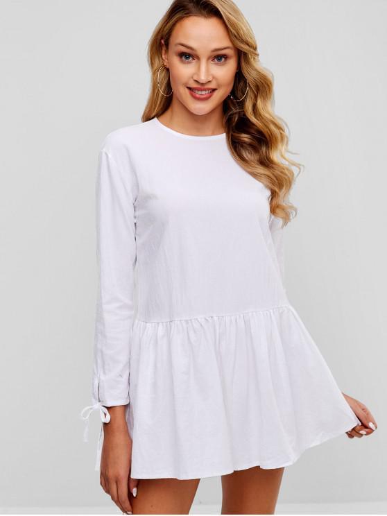 Vestido Casual Anudado A Botones - Blanco M