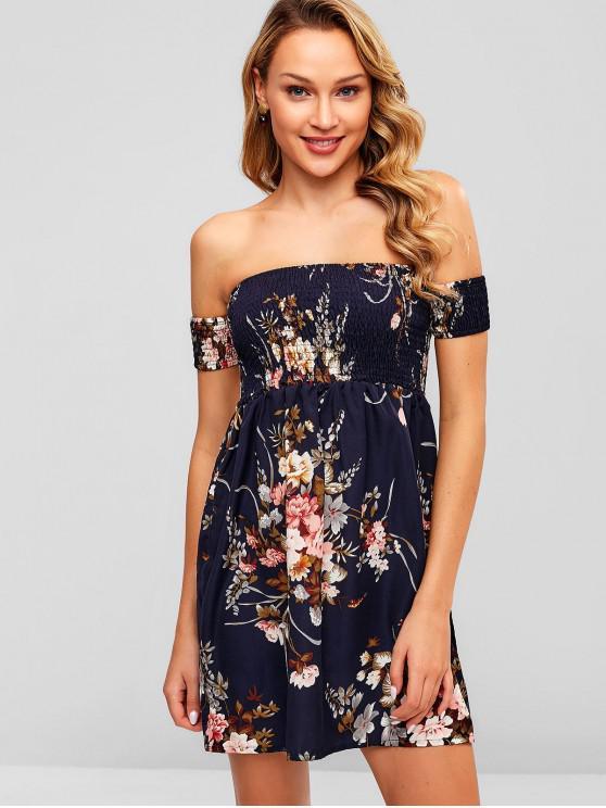 fancy ZAFUL Smocked Off Shoulder Floral Dress - DARK SLATE BLUE S