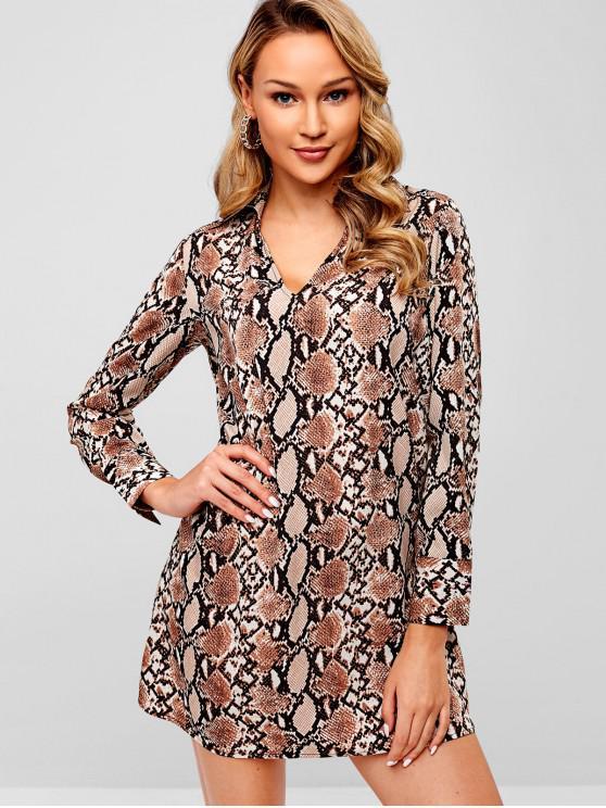 hot Snakeskin Long Sleeve Tunic Dress - MULTI-A M
