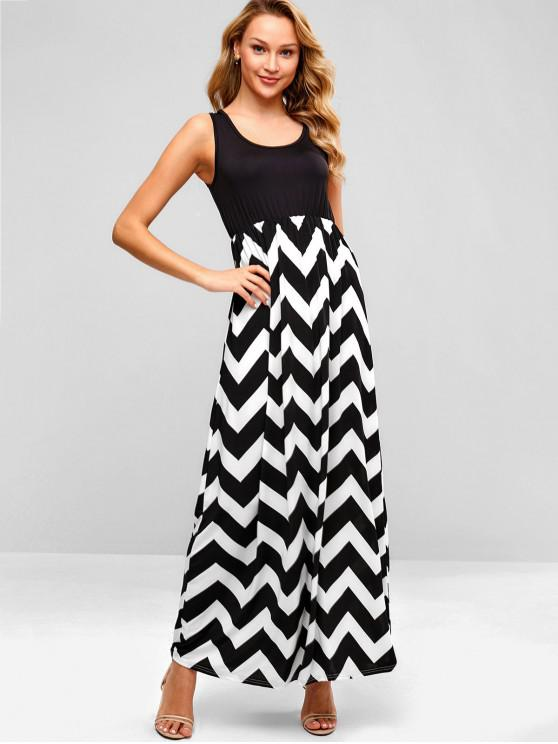 d7b5b265dddb0 Casual Sleeveless Zig Zag Maxi Dress