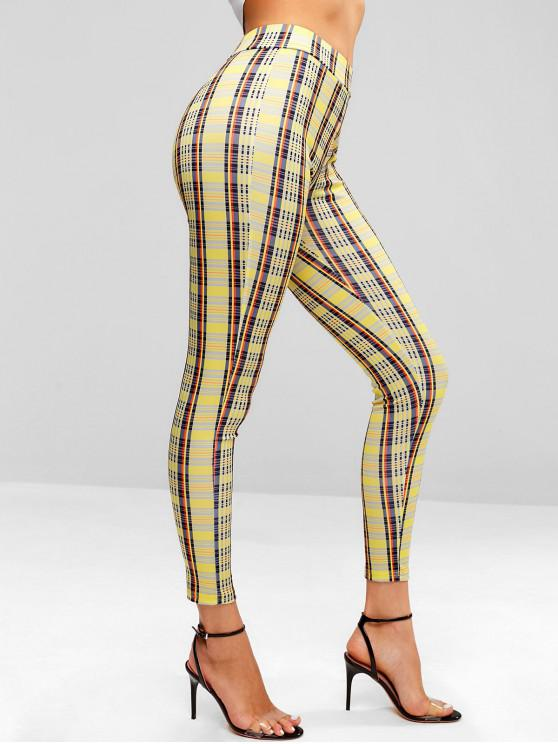 ladies Plaid Skinny Pants - SUN YELLOW M