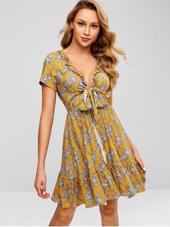 ZAFUL - Rüschen, Geknotetes Kleid mit Print - Biene Gelb L
