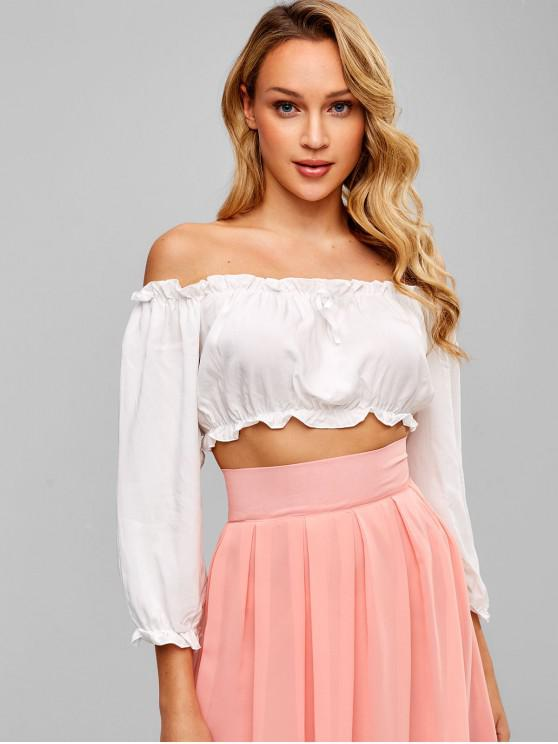 affordable Bowknot Embellished Off Shoulder Crop Blouse - WHITE ONE SIZE