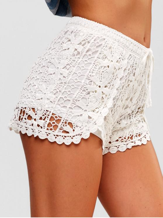 women Drawstring Crocheted Shorts - WHITE ONE SIZE