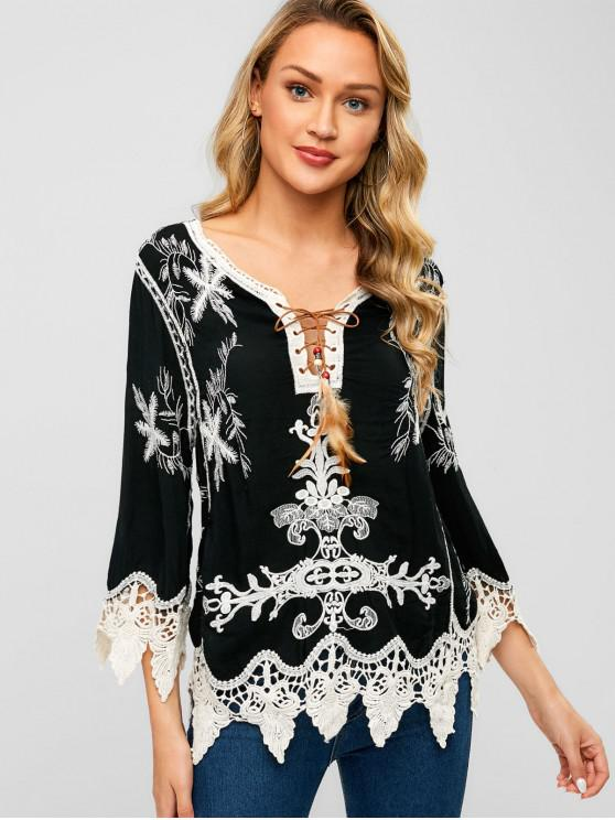 chic Lace Up Crochet Panel Embroidered Blouse - BLACK L
