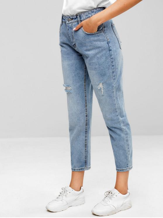 latest ZAFUL Distressed Five Pockets Jeans - JEANS BLUE S