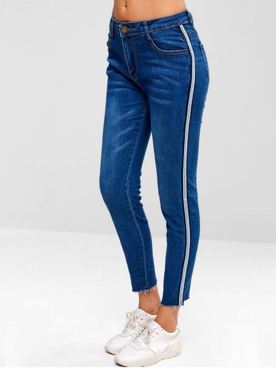 Jeans laterali a strisce con bordi sfrangiati - Blu Scura Denim  XL