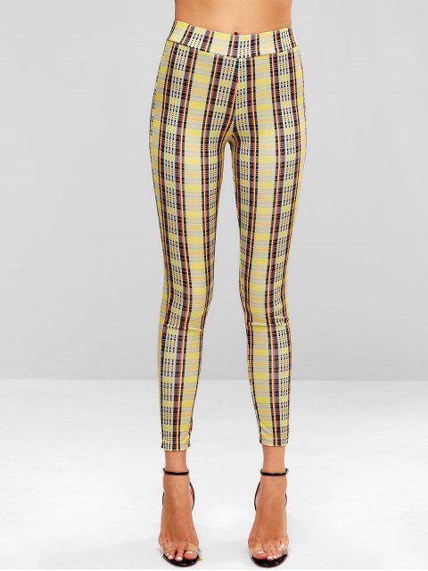 Pantalones pitillo a cuadros - Amarillo de Sol  XL Mobile