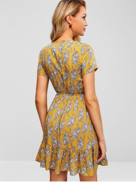 online ZAFUL Ruffles Knotted Printed Dress - BEE YELLOW L Mobile