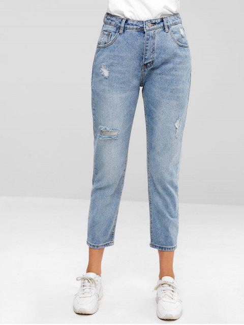 outfits ZAFUL Distressed Five Pockets Jeans - JEANS BLUE L Mobile