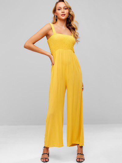 ff2c06c3f88c ZAFUL Straps Smocked Wide Leg Jumpsuit - Bright Yellow S