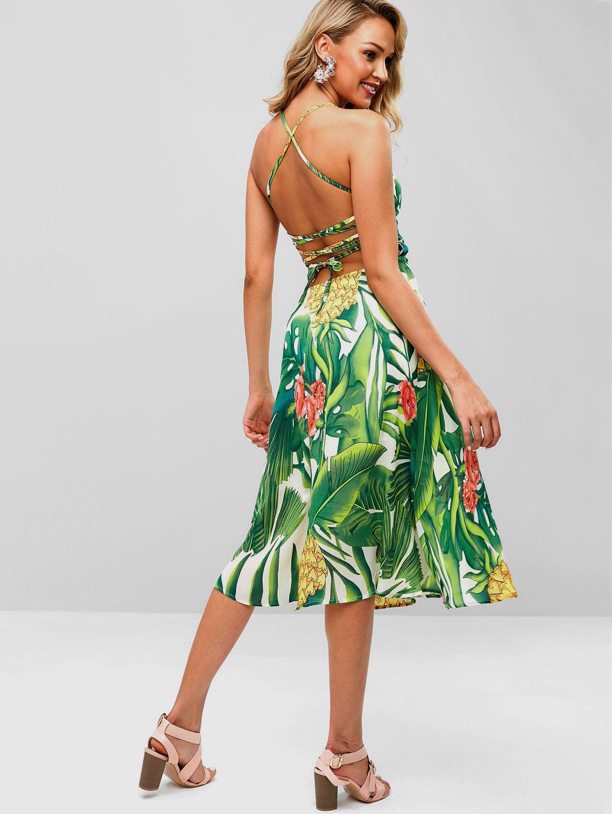 Strappy Open Back Tropical Print Midi Dress