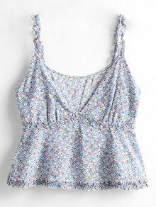 7a657174b3559 33% OFF   HOT  2019 ZAFUL Frilled Tiny Floral Tank Top In DAY SKY ...