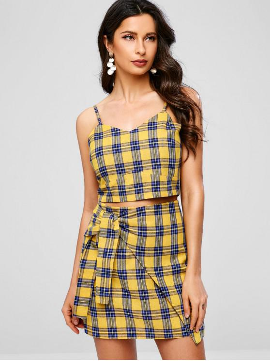 trendy ZAFUL Plaid Top And Knotted Skirt Set - BEE YELLOW L