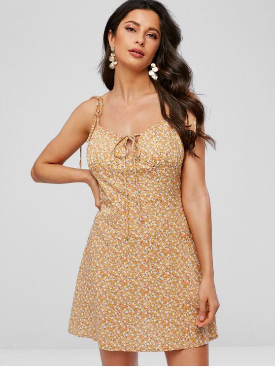 sale Tie Straps Tiny Floral Flare Dress - GOLDEN BROWN XL