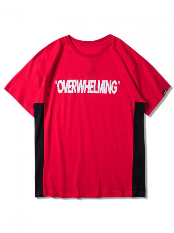 fancy OVERWHELMING Graphic Color Block Short Sleeves Tee - LAVA RED 2XL