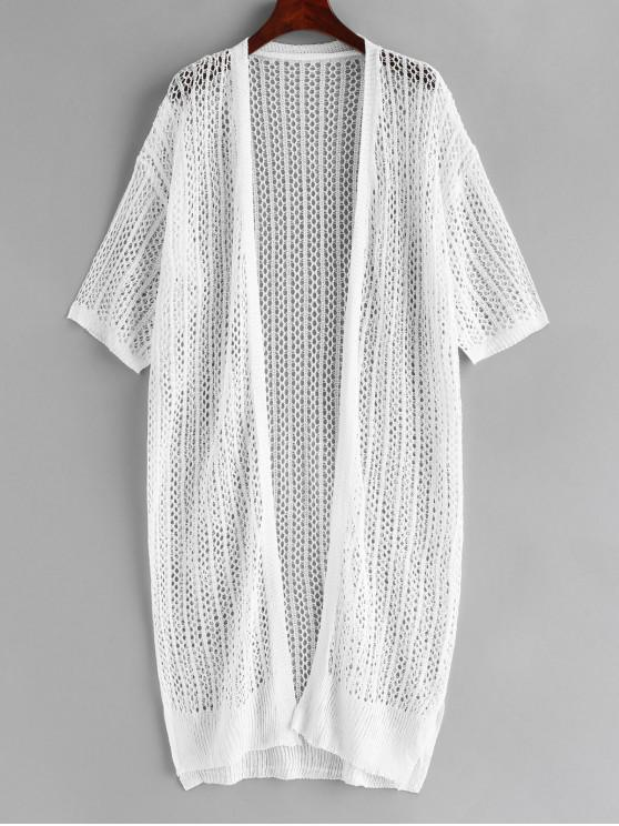 buy Crochet Knit Slit Long Cover Up - WHITE ONE SIZE