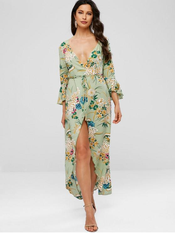 sale Floral Print Flare Sleeves Belted Dress - GREEN M