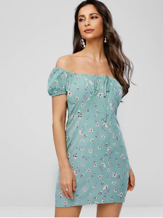 fancy Off Shoulder Bowknot Floral Print Dress - DARK SEA GREEN M