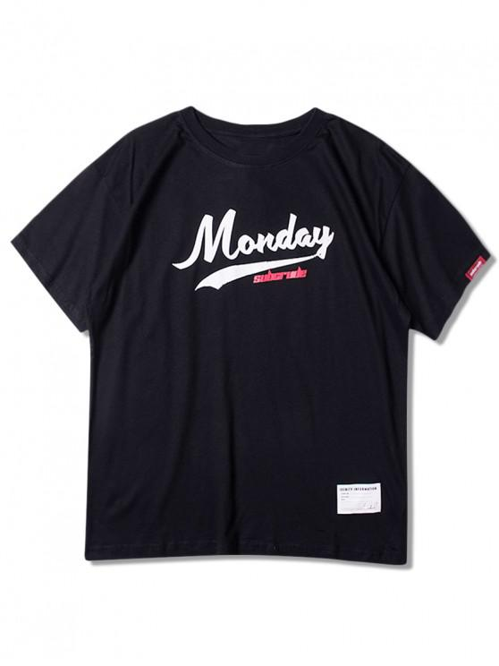 shop Monday Graphic Short Sleeves Tee - BLACK 2XL