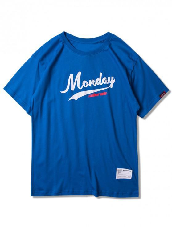 Camiseta manga curta gráfico de segunda-feira - Trapaceiro Azul 2XL