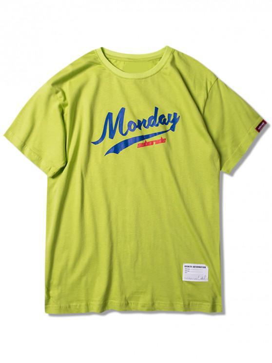 T-shirt graphique lundi à manches courtes - Vert de Salade 2XL