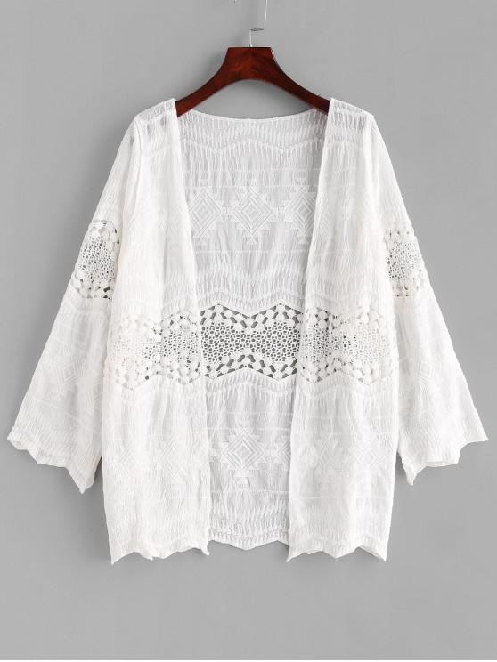 Couverture Ouverte au Crochet Brodée - Blanc Taille Unique