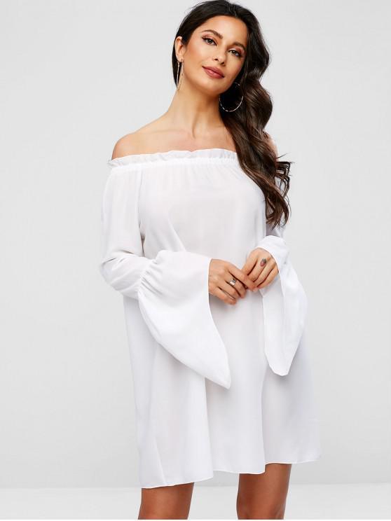 46ef88584b87 30% OFF] 2019 Flare Sleeves Off Shoulder Shift Dress In WHITE | ZAFUL