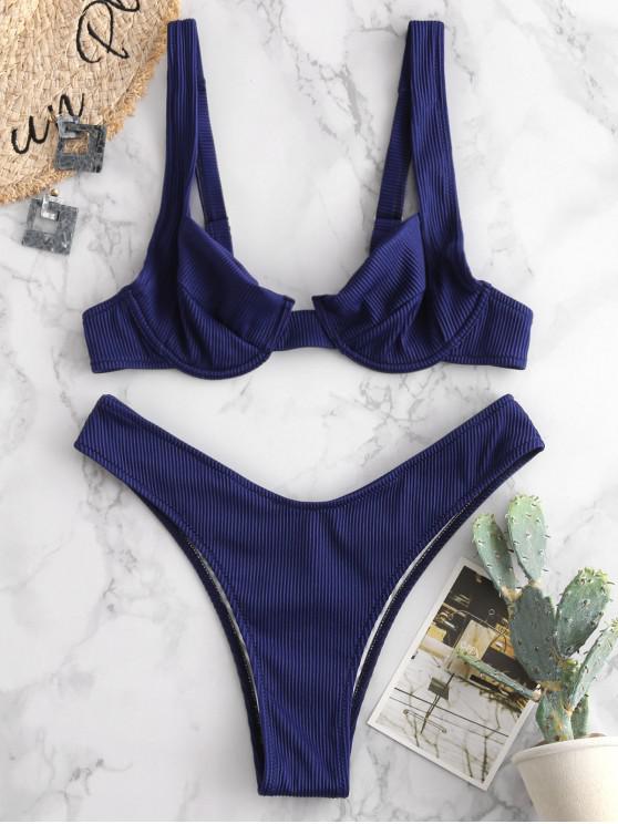 buy ZAFUL Textured Ribbed Underwire Bikini Set - LAPIS BLUE M