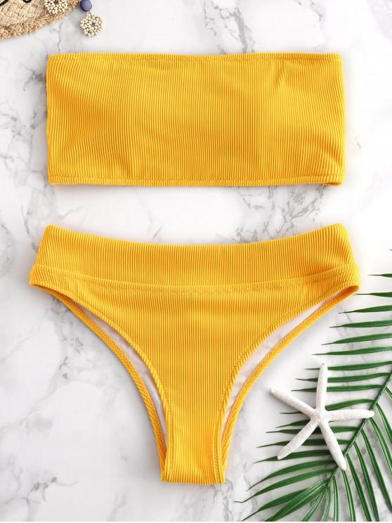 fancy ZAFUL Textured Ribbed Bandeau Bikini Set - BRIGHT YELLOW S