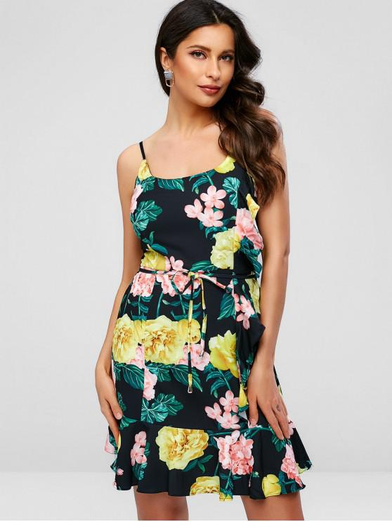 fashion Floral Print Ruffles Belted Cami Dress - BLACK L
