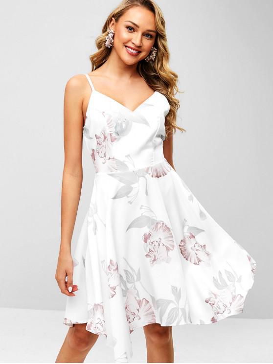 Robe Mouchoir Fleurie à Bretelle - Blanc M