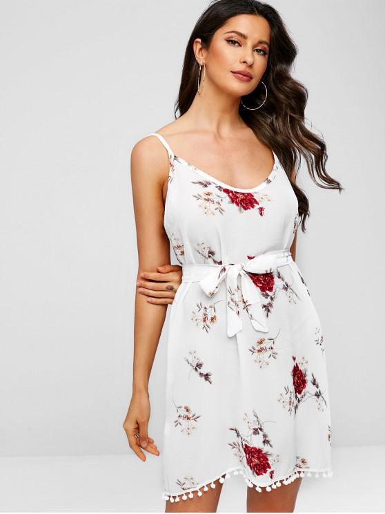 womens Pompoms Hem Floral Print Belted Cami Dress - WHITE L