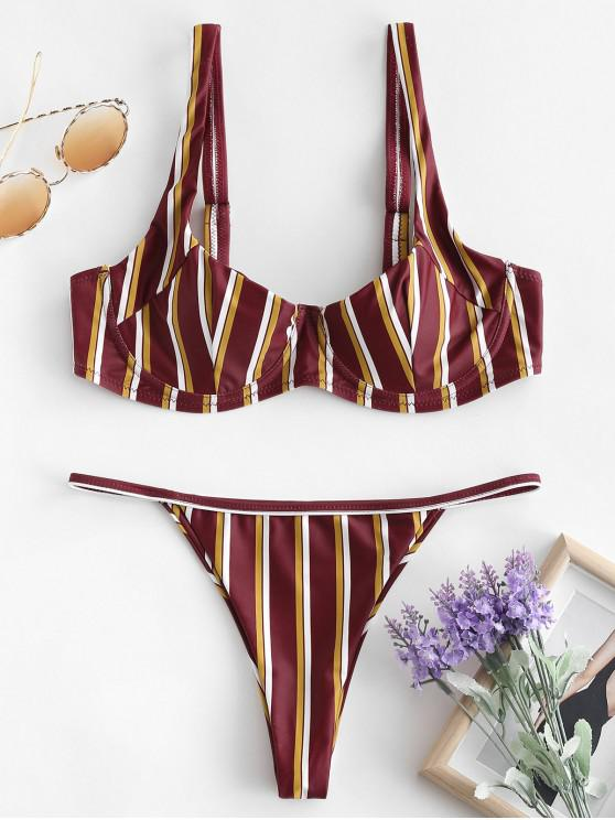 affordable ZAFUL Stripe Underwire Bikini Set - MULTI-B L