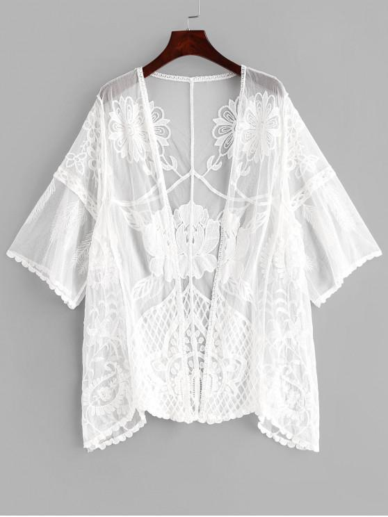 chic Embroidered Mesh See Thru Cover Up - WHITE ONE SIZE