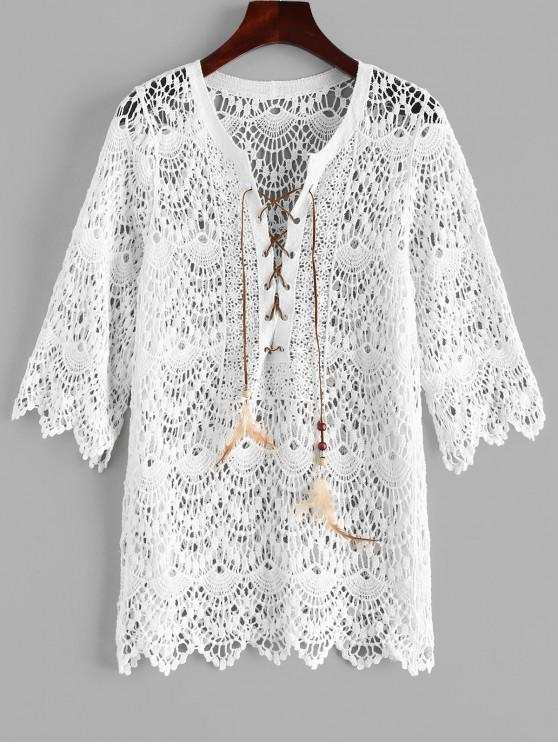 Lace Up Crochet Scalloped Cover Up - Blanco Talla única