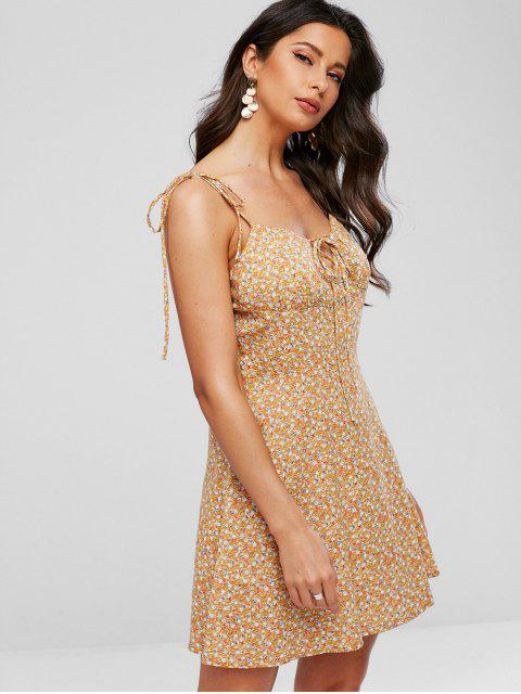 buy Tie Straps Tiny Floral Flare Dress - GOLDEN BROWN S Mobile