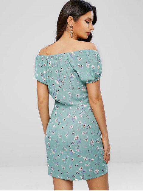 Schulterfreies Schleife Blumen Druck Kleid - Dunkles Meergrün XL Mobile