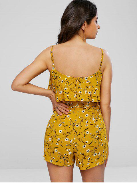 outfit Ruffle Daisy Print Romper - BEE YELLOW M Mobile
