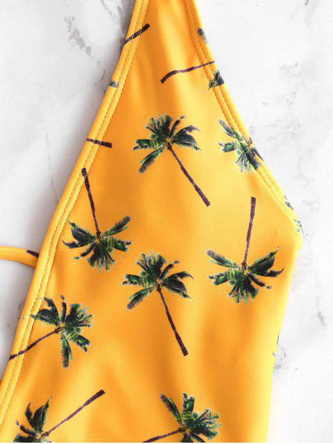 buy ZAFUL Coconut Tree Halter Backless Swimsuit - BEE YELLOW S Mobile