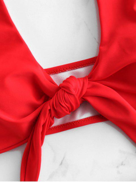 buy ZAFUL Plunge Front Knot Bikini Set - LAVA RED M Mobile