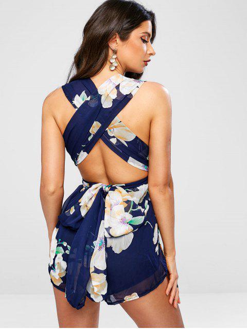 fancy Knotted Floral Criss Cross Romper - DARK SLATE BLUE M Mobile