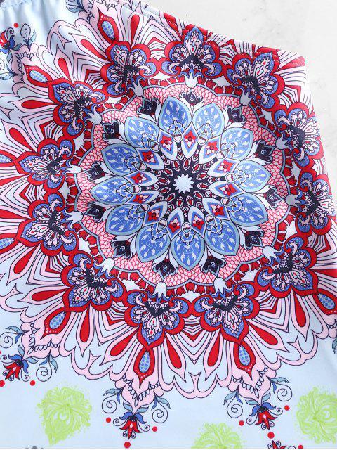 womens ZAFUL Bohemian Flower Halter Swimsuit - BABY BLUE M Mobile